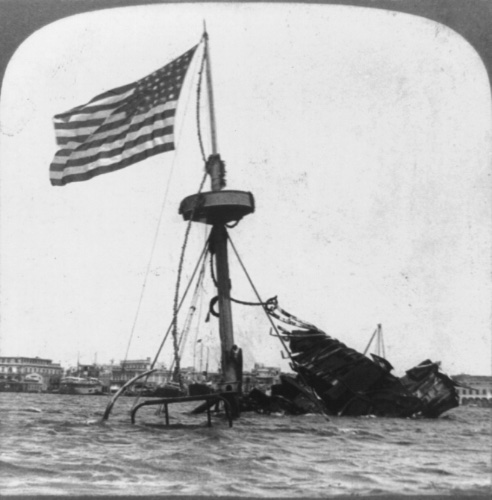 The wreck of the USS Maine in Havana harbor, 1902