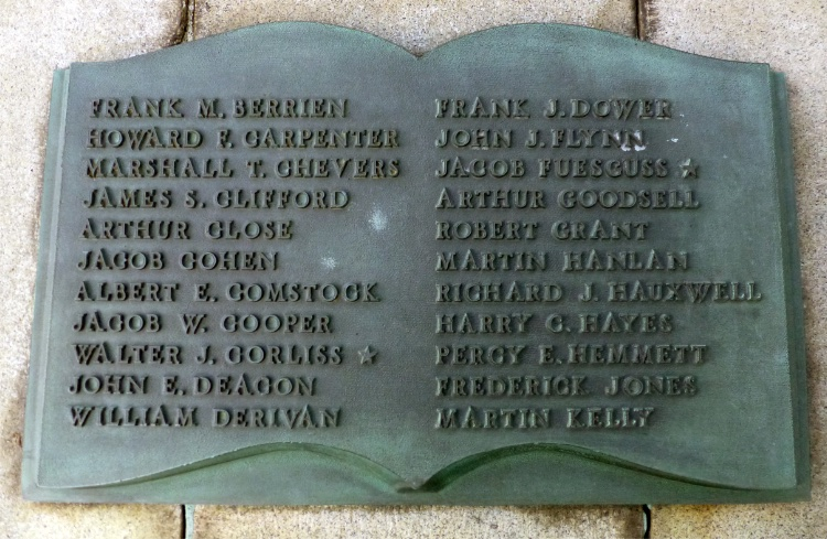 Plaque on the Port Chester Spanish-American War memorial that list the names of the men from the village who served in that war and the Philippine Insurrection