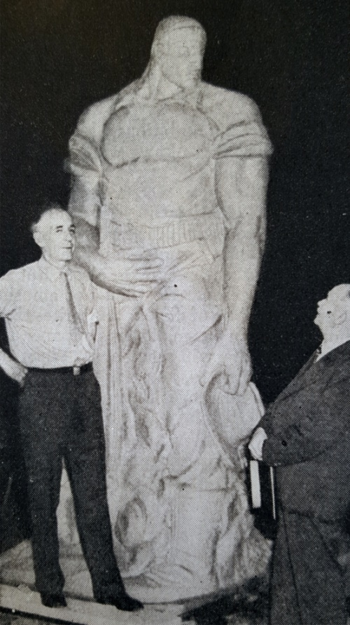 William A. Darcey (left) and Port Chester Village Trustee Nicholas Duffy viewing The Big Soldier on July 25, 1936.