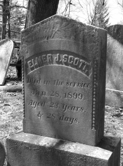 Tombstone of Elmer J. Scott in the Baptist Church Cemetery on King Street